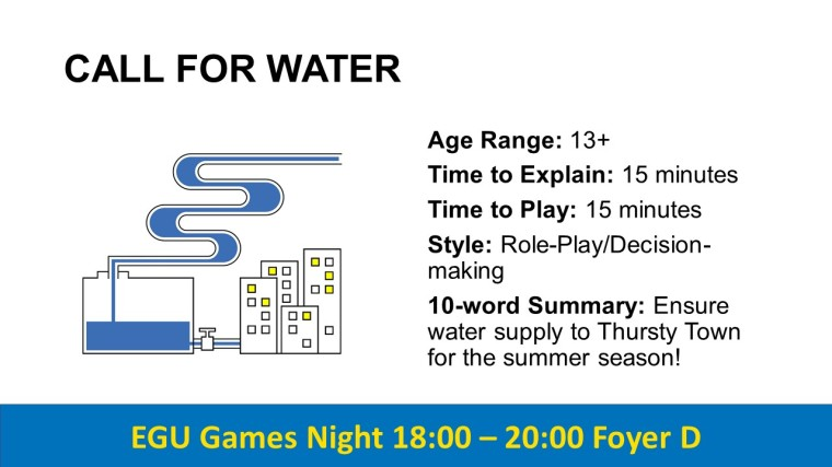 EGU Games Night 2019 - Call for Water