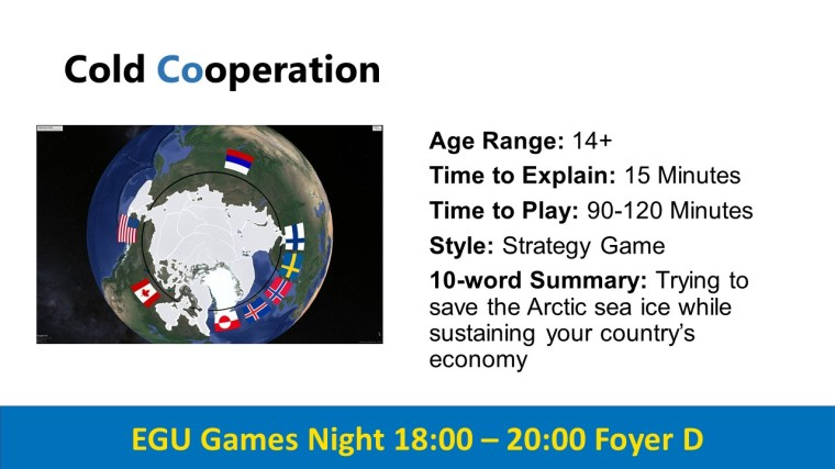 EGU Games Night 2019 coldcoop